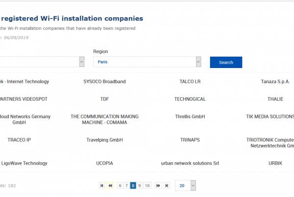 Liste Entreprise référencées WiFi4EU