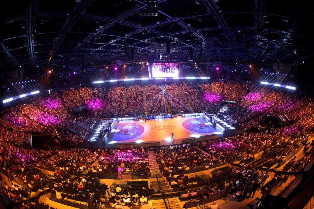 AccorHotels Arena hosting the French AllStar Game and performing a digital experience.